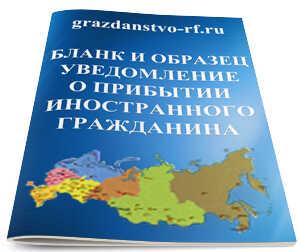 Форма уведомления о прибытии иностранного гражданина